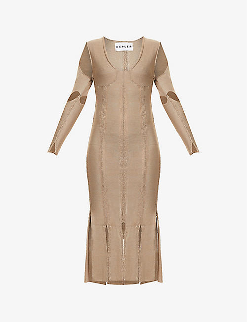 KEPLER: Armour woven-pattern silk-knit midi dress