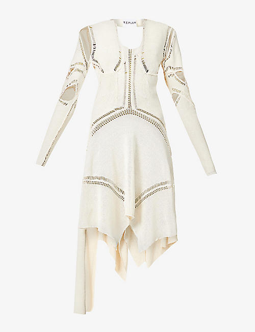 KEPLER: Armour cut-out silk midi dress