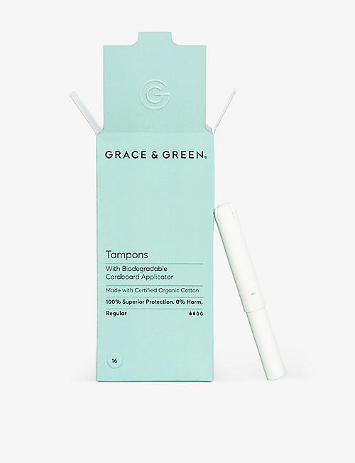 GRACE & GREEN: Organic Cotton Non-Applicator Tampons Regular