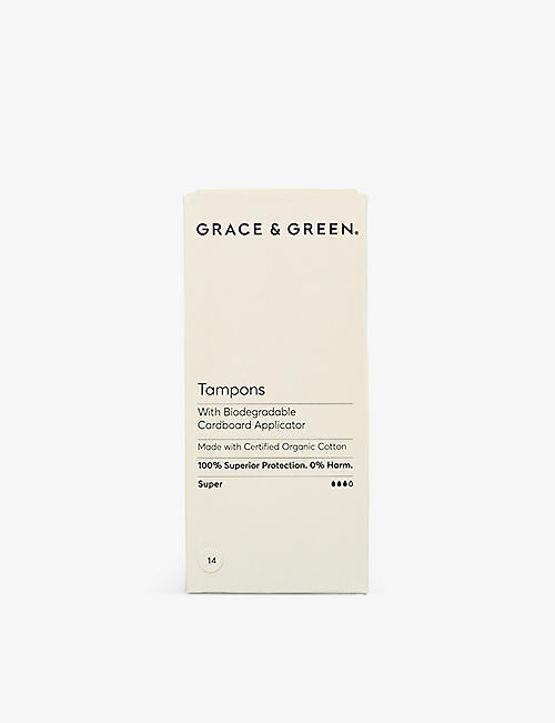 GRACE & GREEN: Organic Cotton Non-Applicator Tampons Super