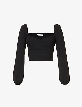 REFORMATION: Reign sweetheart-neck woven top