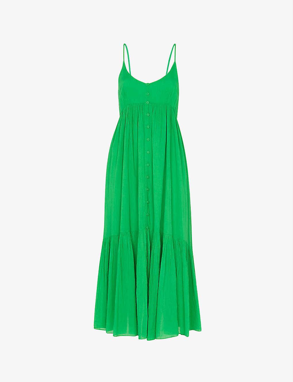 Whistles Cottons TRAPEZE BUTTON-FRONT COTTON-VOILE DRESS