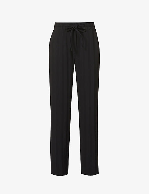THE RANGE: Striped wide-leg high-rise crepe trousers