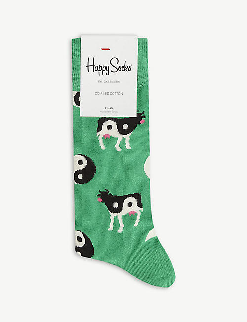 HAPPY SOCKS: Yin yang cow-print cotton-blend socks