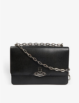 VIVIENNE WESTWOOD: Debbie large saffiano leather cross-body bag