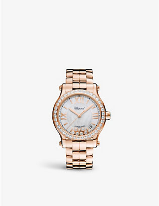 CHOPARD: Happy Sport 18ct rose-gold, mother-of-pearl and 2.31ct full-cut diamond watch
