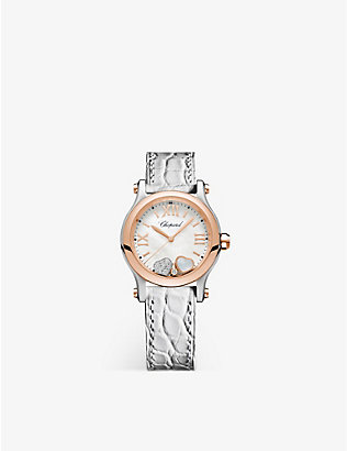 CHOPARD: 278590-6005 Happy Sport 18ct rose-gold, stainless steel, mother-of-pearl, diamond and alligator-embossed leather watch