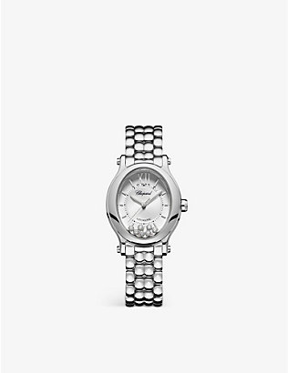 CHOPARD: 278602-3002 Happy Sport Oval stainless steel and diamond watch
