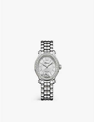 CHOPARD: 278602-3004 Happy Sport Oval stainless steel and diamond watch