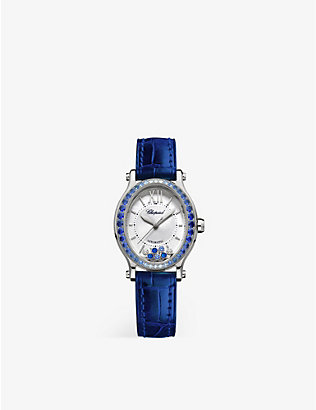 CHOPARD: 275362-1003 Happy Sport Oval 18ct white-gold, sapphire, diamond, mother-of-pearl and alligator-embossed leather watch