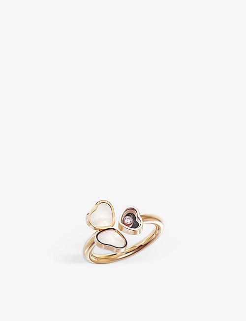 CHOPARD: Happy Hearts Wings 18ct rose-gold, mother-of-pearl and diamond ring