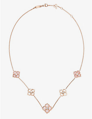 CHOPARD: La Fleur Imperiale 18ct rose-gold, pink opal and diamond necklace