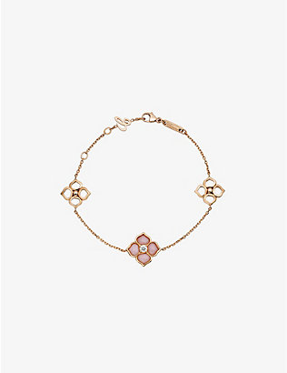 CHOPARD: La Fleur Imperiale 18ct rose-gold, pink opal and diamond bracelet