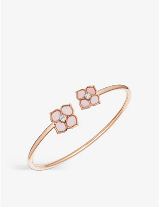 CHOPARD: La Fleur Imperiale 18ct rose-gold, pink opal and diamond bangle