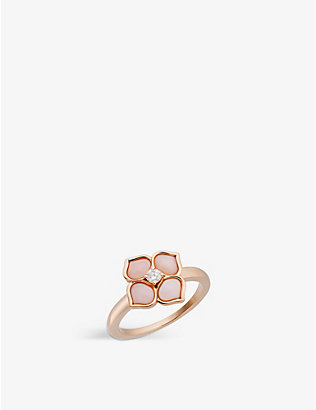 CHOPARD: La Fleur Imperiale 18ct rose-gold, pink opal and diamond ring