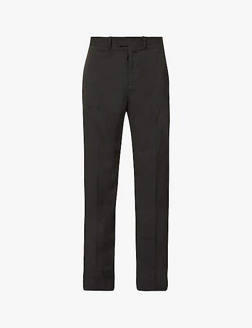 OFF-WHITE C/O VIRGIL ABLOH: Straight-leg mid-rise wool-blend trousers