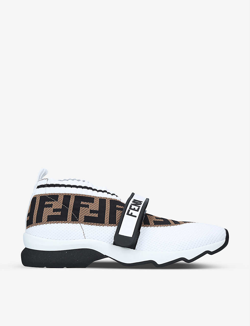 FENDI: Rockoko logo-print knitted, leather and PVC trainers