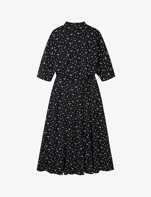 THE WHITE COMPANY: Floral-print high-neck jersey midi dress