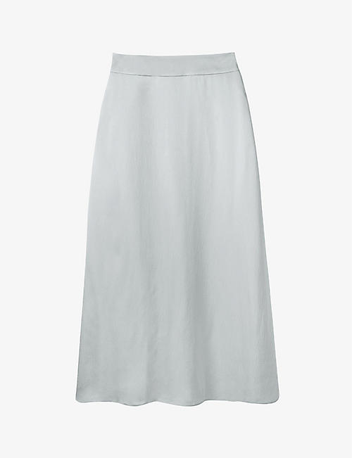 THE WHITE COMPANY: High-waisted A-line woven midi skirt