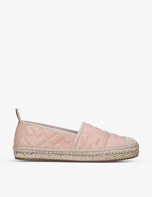 FENDI: Logo-embossed leather espadrilles