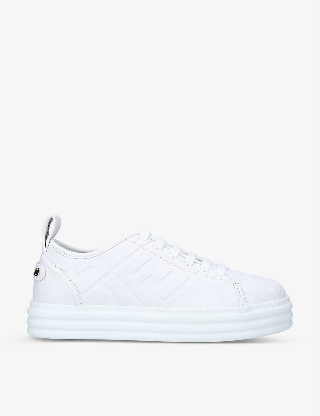 FENDI: Logo-embossed flatform leather trainers