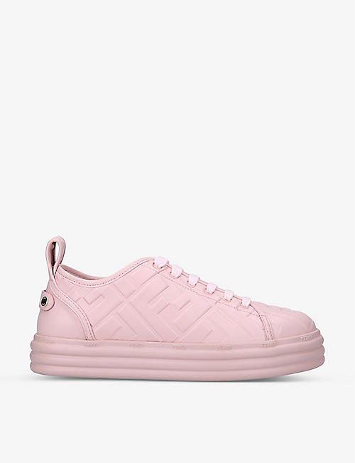 FENDI: FF-embossed leather flatform trainers