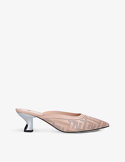 FENDI: Colibrì perforated leather heeled mules