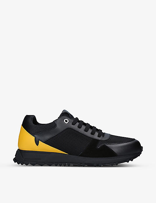 FENDI: Eye-embroidered mesh mid-top trainers