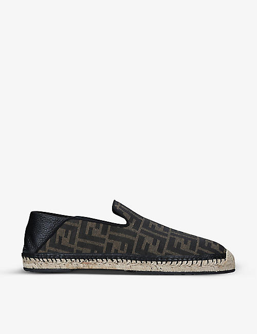 FENDI: FF-print jacquard and leather espadrilles