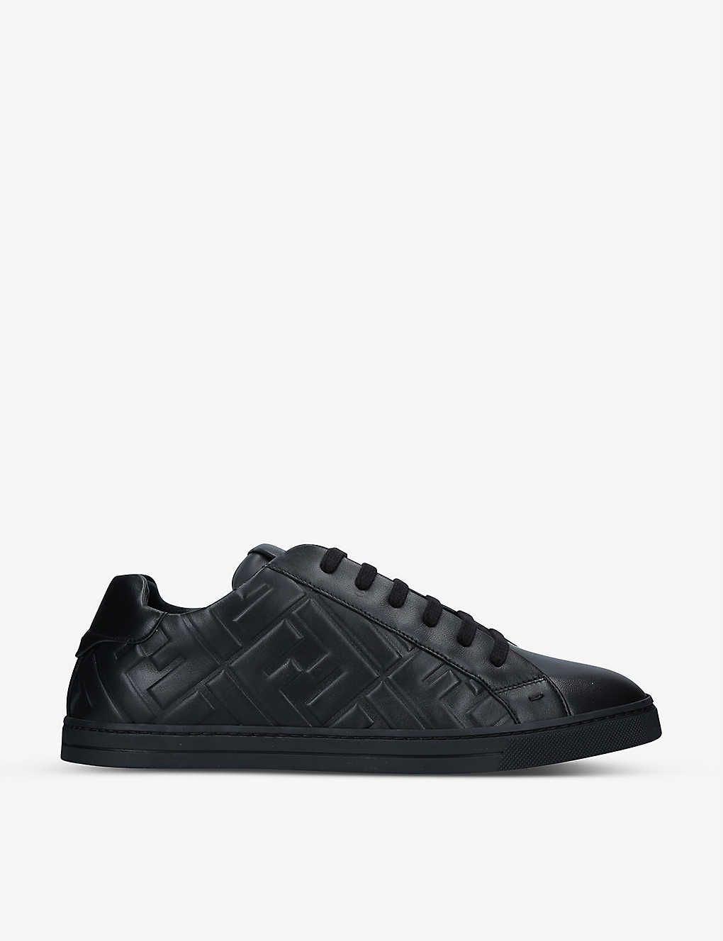 FENDI: FF-embossed leather mid-top trainers