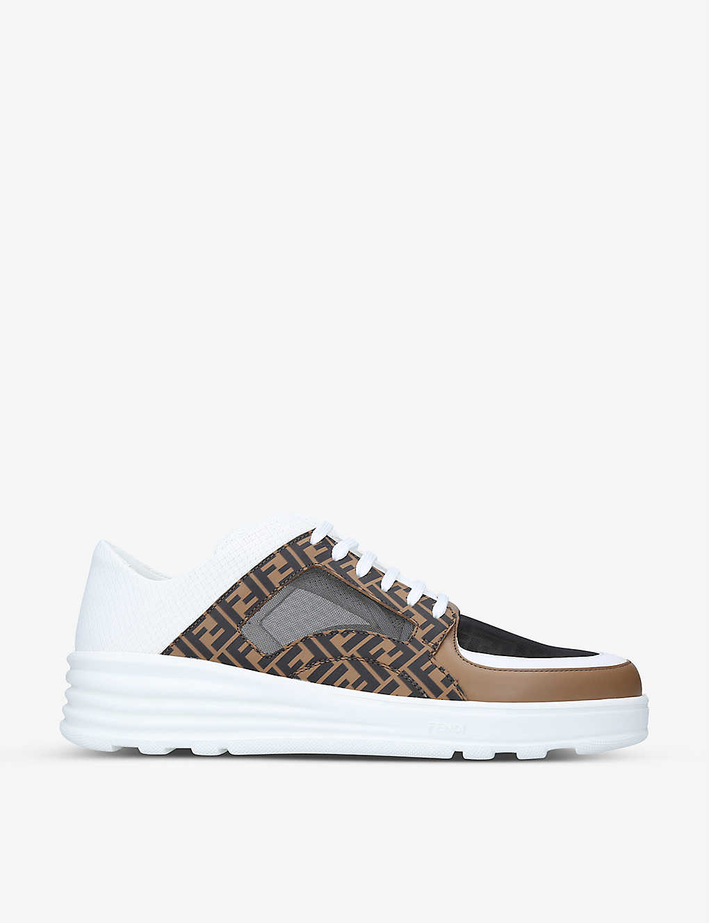 FENDI: Logo-print woven and leather low-top trainers