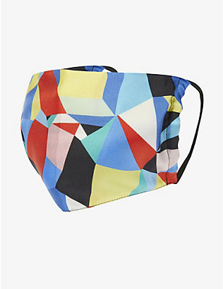 EMILY CARTER: Geometric-print silk face covering