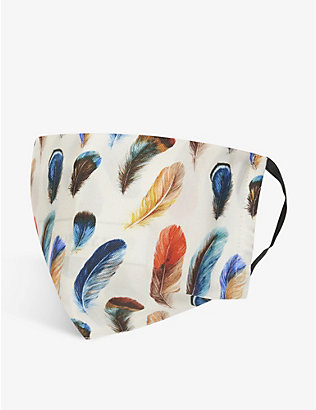 EMILY CARTER: Feather-print silk face covering