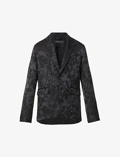 ANN DEMEULEMEESTER: East floral-embroidered crepe blazer