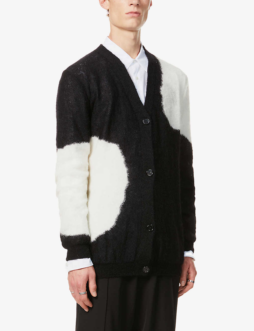 ANN DEMEULEMEESTER: Two-tone mohair-blend cardigan