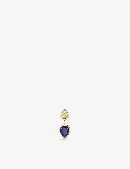 BOUCHERON: Serpent Bohème 18ct yellow-gold, 0.16ct diamond and 1.22ct lapis lazuli stud earrings