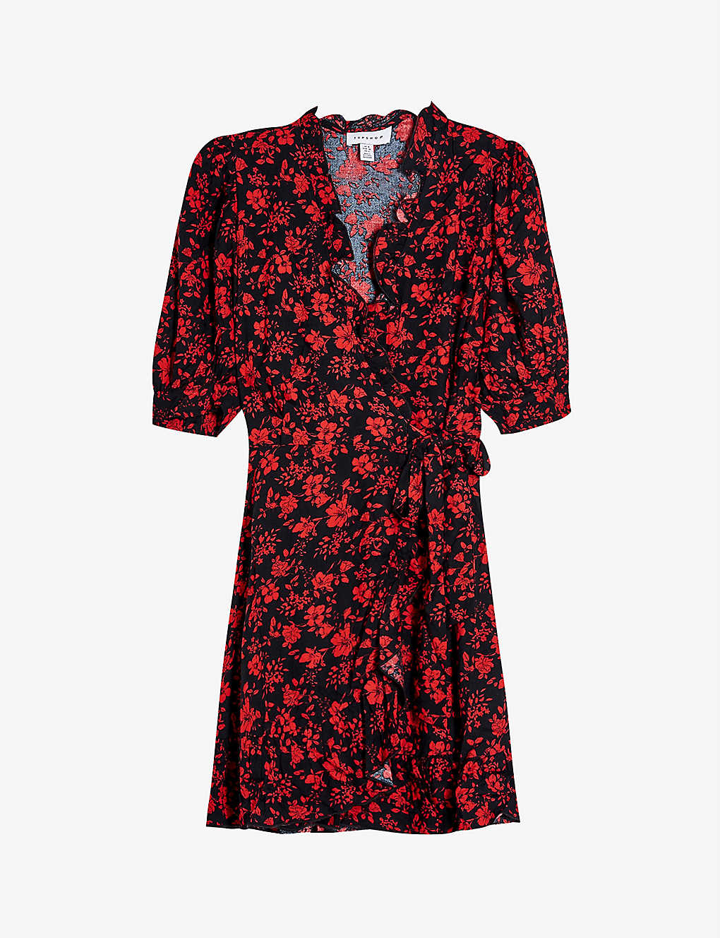 TOPSHOP: Floral-print crepe wrap mini dress