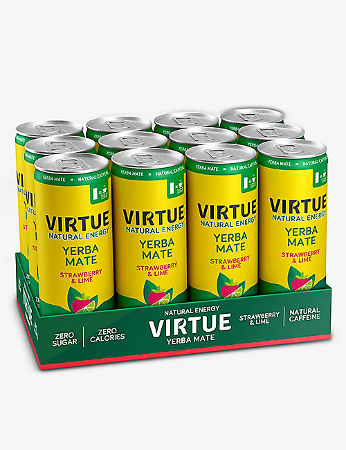 VIRTUE: Yerba Mate strawberry and lime energy drink 250ml x 12