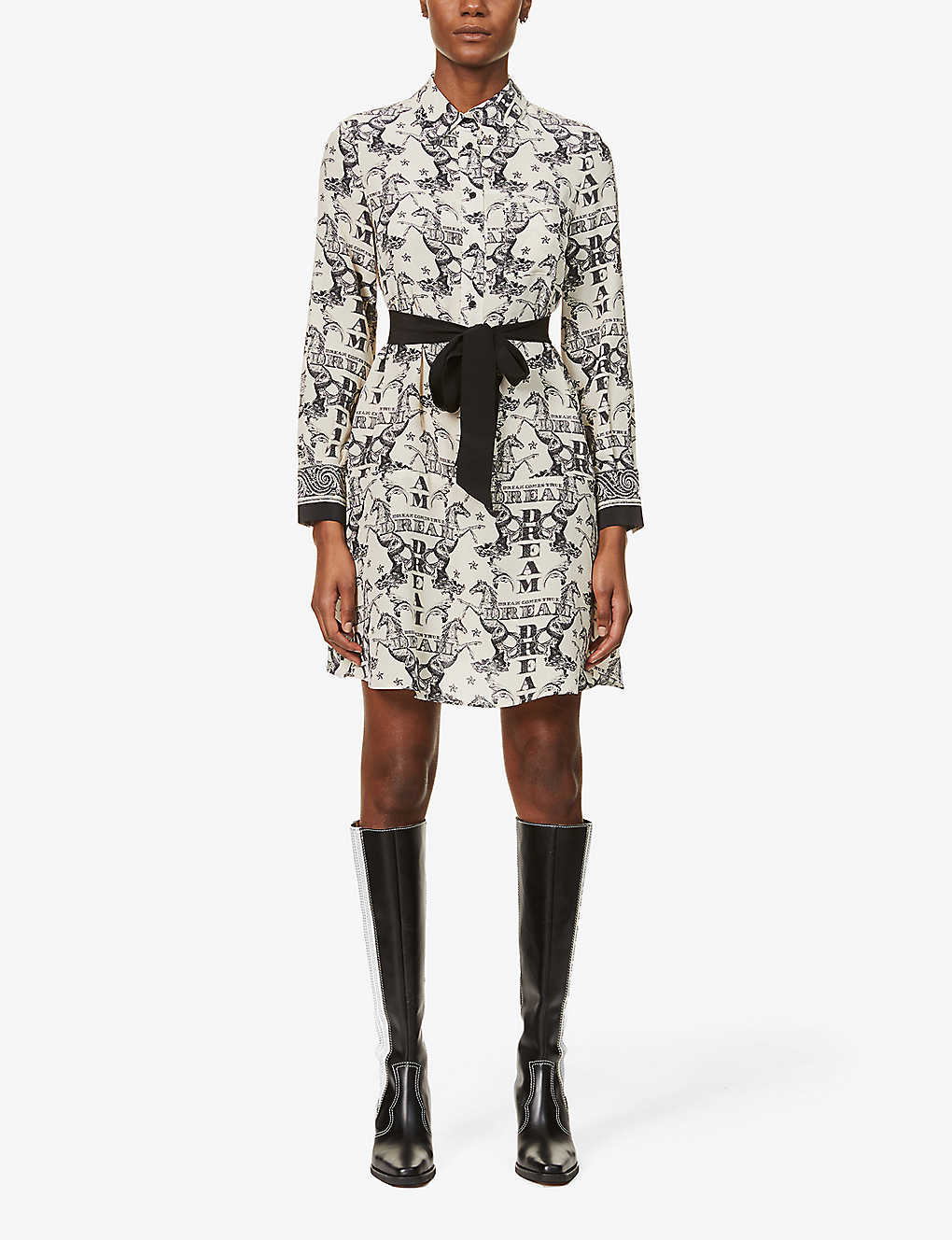 CLAUDIE PIERLOT: Choupie Dream graphic-print silk-crepe mini dress