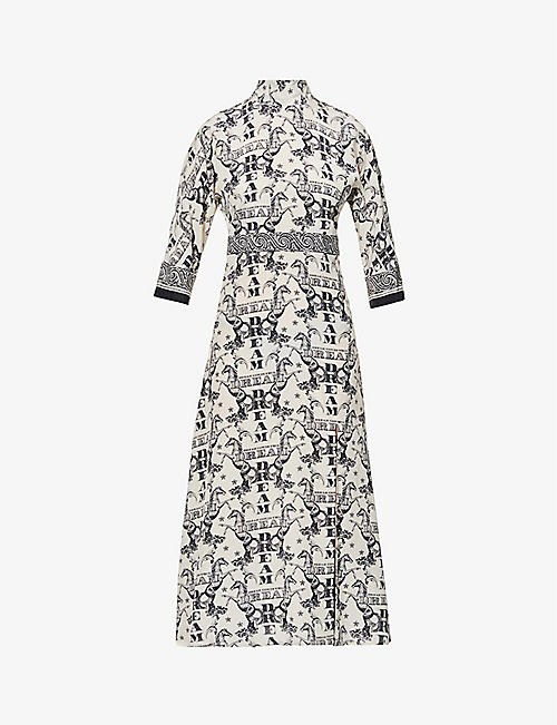 CLAUDIE PIERLOT: Rasabis graphic-print silk maxi dress