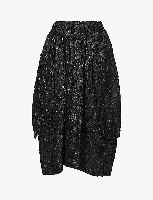 COMME DES GARCONS: Floral pattern appliqué high-waist cotton midi skirt