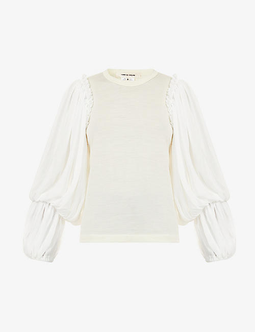 COMME DES GARCONS: Puff-sleeve wool and crepe top