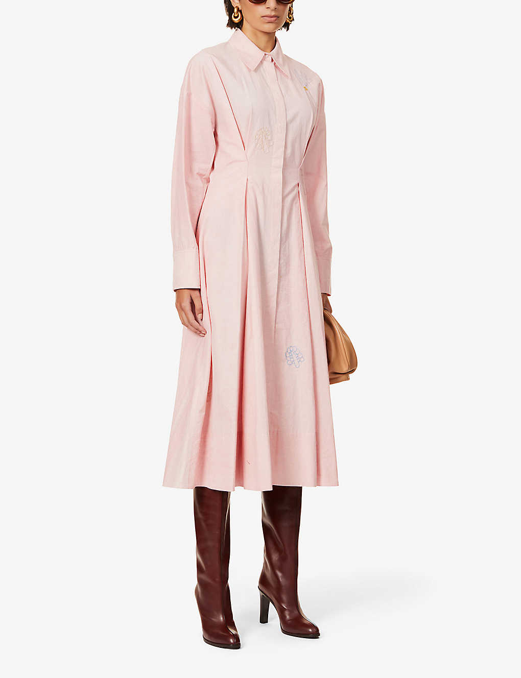 SSONE: Balance embroidered cotton maxi shirt dress
