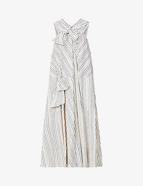 SSONE: Knot stripe-print cotton and linen-blend maxi dress