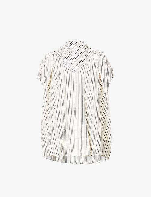 SSONE: Apex stripe-print cotton and linen-blend shirt