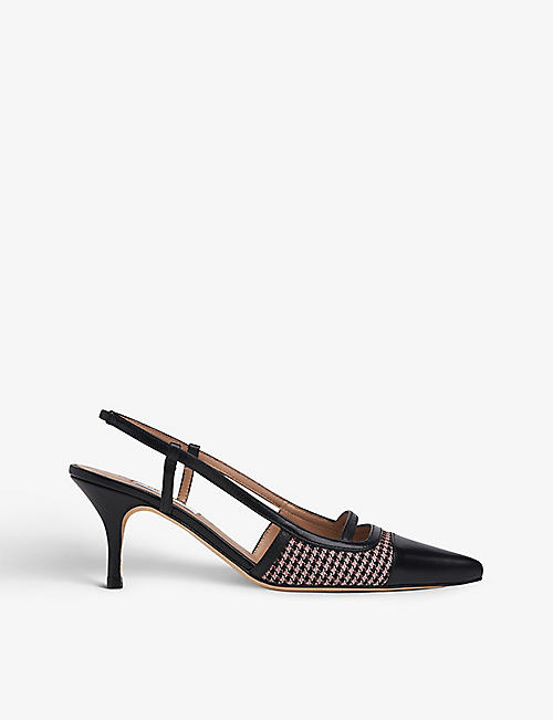 LK BENNETT: Harris leather and textile slingback courts