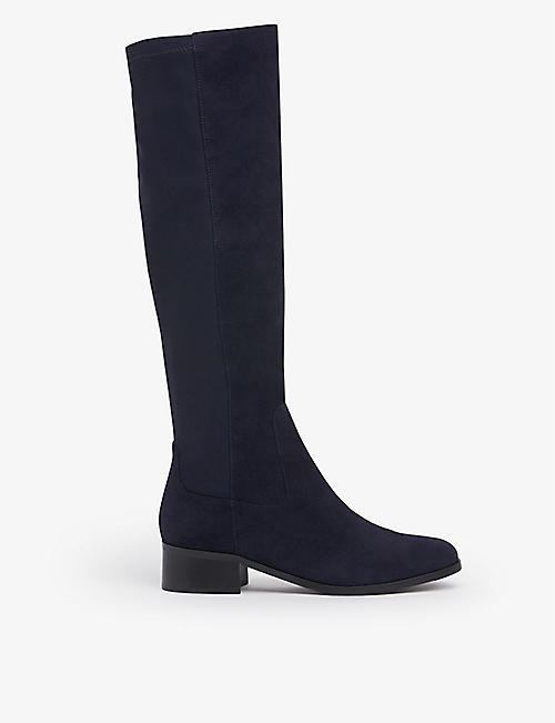 LK BENNETT: Bella suede and textile knee-high boots