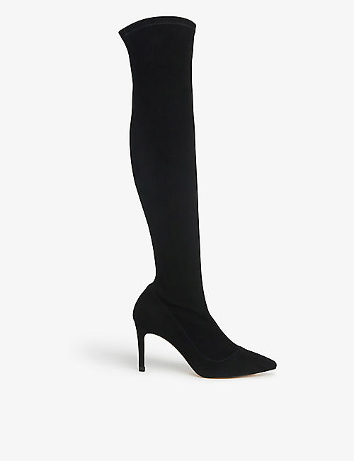 LK BENNETT: Blake stretch-suede above-the-knee boots