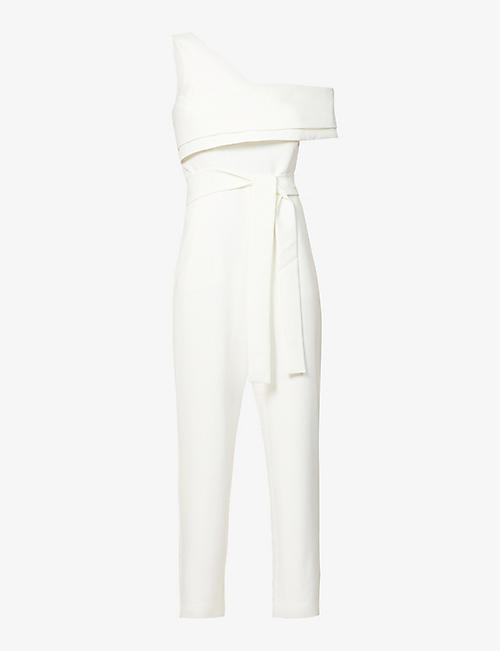 LAVISH ALICE: One-shoulder stretch-crepe jumpsuit