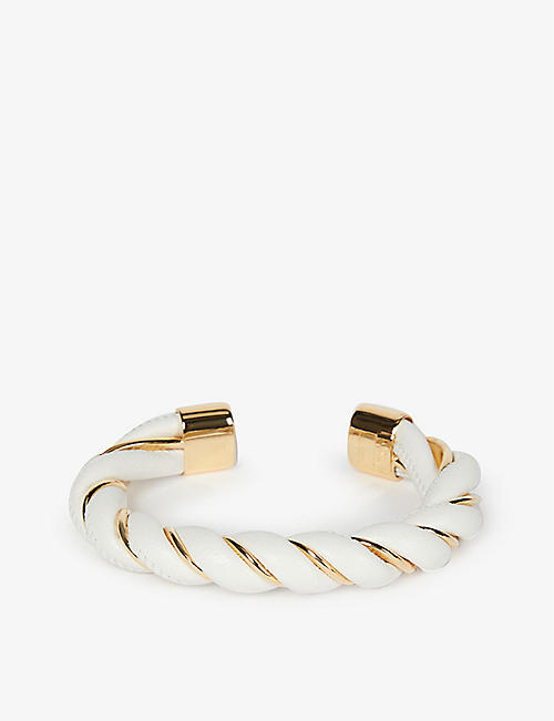 BOTTEGA VENETA: Rope leather and silver bangle